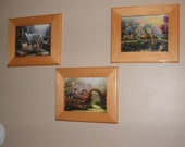 Set of 3 Framed Puzzles Beautiful 9  by 7 Thomas Kinkade Pictures