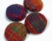 Handwoven Fabric Covered Buttons: Linen Spice