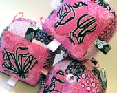 Plush Baby Blocks - Black/Pink Floral