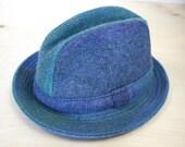 Vintage Men's Hat blue tweed plaid