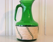SALE Retro Green Glass Carafe