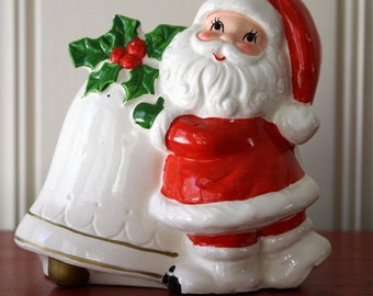 Vintage Santa Planter with Big Bell