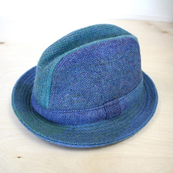 Vintage Men's Hat blue tweed plaid