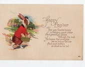 Easter Postcard Dressed Bunny Rabbit with Chicks in a Basket 20912A