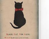 Good Luck Black Kitty Cat vintage postcard