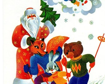 Russian Christmas postcard Santa, Fox,  Rabbit and Bear Skiing