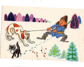Russian vintage  postcard Frustrated Hunter, hunting dog scared of kitty cat  Hunting Humor USSR, funny Russian postcard animals postcard