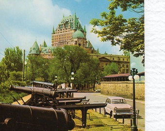 Vintage postcard from the 1960s of a Walk on Des Ramparts Street in Quebec Canada