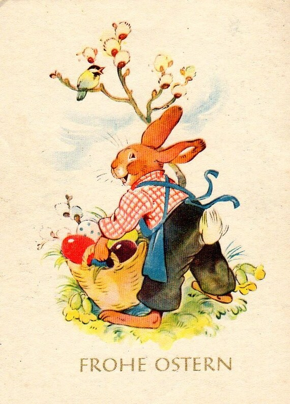 Happy Easter in German Vintage Postcard by sharonfostervintage