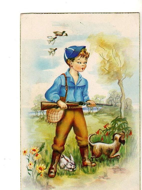 Cute Bunny tricks the Hunter Boy with dog postcard, Spanish, artist signed