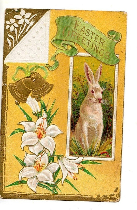 Easter Postcard  Bunny, Bells, Lilies, vintage