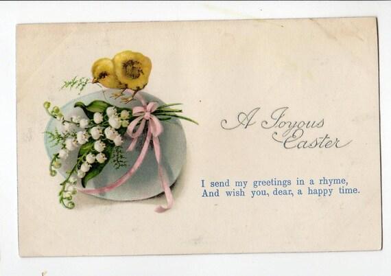 Easter chick on top of big aqua egg vintage Easter postcard