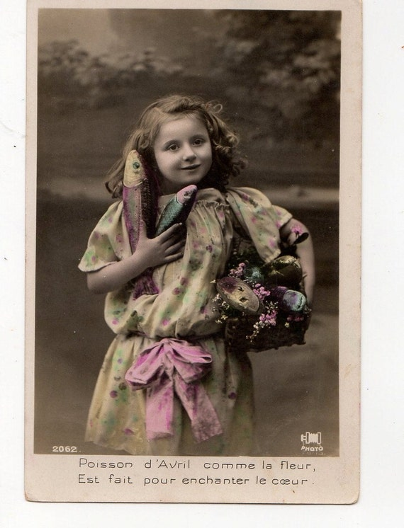 Vintage Real Photo Cute Girl April Fish Very nice French Greetings Postcard