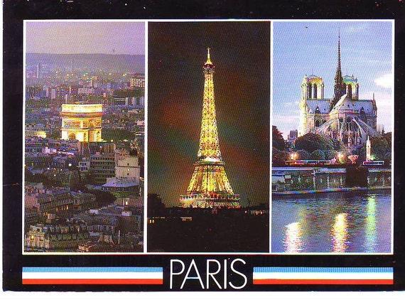Eiffel Tower, Arc of Triumph and Notre-Dame Paris France Postcard