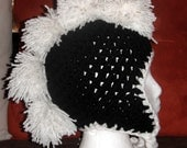 Black and White Pompom Mohawk Earflap Hat