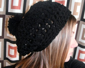 Super Slouchy Black Chunky Beret Hat with PomPom