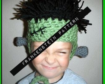 Pattern Frankenstein Crochet Hat Costume Halloween