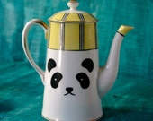 SALE Nippon Panda altered yellow teapot