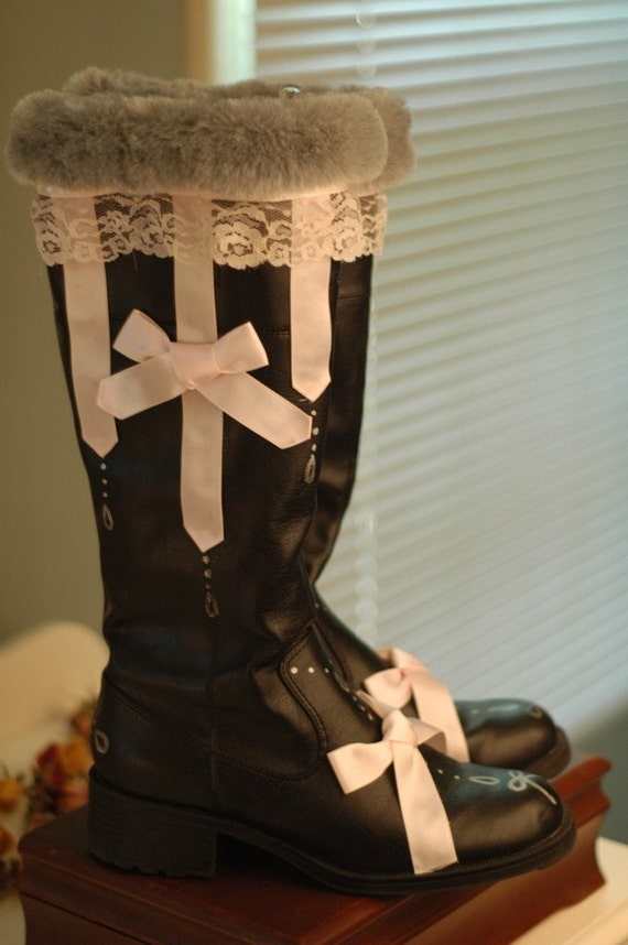 SALE - 50% OFF - Russian Princess Black, Pink and Silver Boots