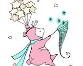 Baby Art -- Catch A Moonbeam Pink Bear 8x10 -- Art Print