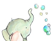 Elephant Bubbles 8x10 Archival Print