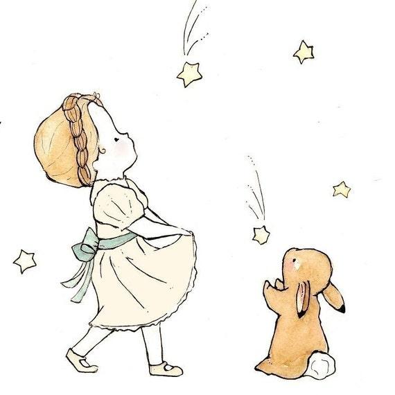 Children Art Print Girl In Cream Dress 5X7