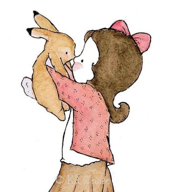 Children's Art -- Bunny Kiss (B) 8x10 -- Art Print