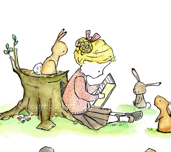 bunny and books room decor  -- Story Girl very blonde-- 8x10 Archival Art Print