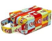 Boxy Project Bag - Sock Monkey Blocks