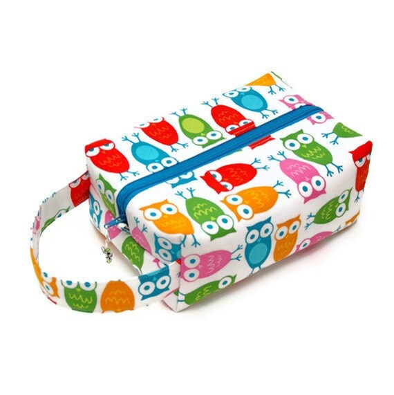 Project Bag Boxy Knitting Bag - Bright Owls