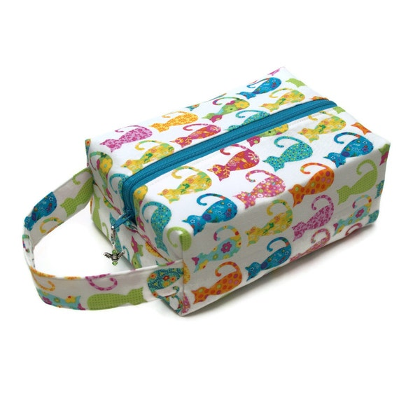 Project Bag Boxy Knitting Bag - Calico Cats