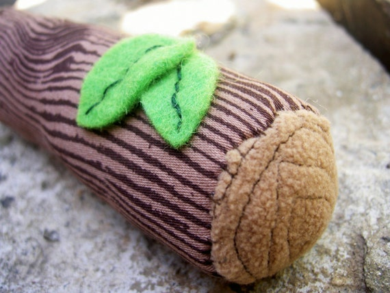 Plush log baby rattle