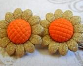 Golden Flowers, Sparkle Flower Bobby Pins, Summer Flowers Hair Bobby Pins, Harvest Flowers Bobby Pins, Set of 2