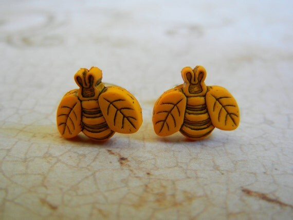 Upcycled Button Earrings, Bumblebee Earrings, Yellow and Black Bees