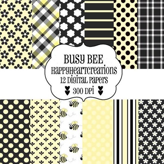 Digital Scrapbook Papers Busy Bee