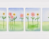 Pink and White Daisies - Four Panel
