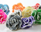4pcs Clay Flower Beads-34x18mm