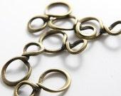 10pcs Antique BrassTone Base Metal Fancy Links-31x17mm (10601Y-B-167B)
