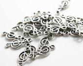 20pcs Oxidized Silver Tone Base Metal Charms-Music Note  20x8mm (9620Y-F-118A)