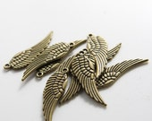 20pcs Antique Brass Tone Base Metal Charms-Wing 31x9mm (1262Y-B-319)