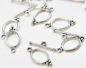 24 Sets Oxidized Silver Tone Base Metal Toggle Clasps (8418Y-K-203A)