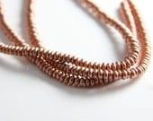 90pcs Czech Glass Beads Round Flat - Metallic Light Copper 4mm (PG3380602)