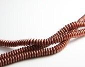 75pcs Czech Glass Beads Round Flat - Metallic Copper 6mm (PG3380701) x