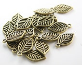 20 pcs Antique Brass Base Metal Charms-Leaf 19x10mm (16226Y-B-372)