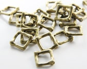 20pcs Antique Brass Tone Base Metal Spacers-Square 12mm with inner size 7mm (11201Y-B-338)