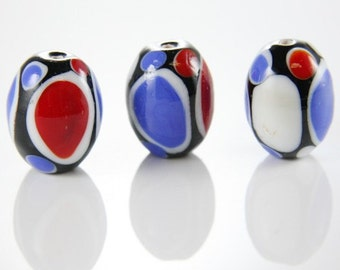 2pcs Limited Edition Lampwork Glass Beads-Oval 24.5x18.5mm (32Z)