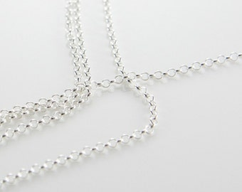 3 Feet Sterling Silver Rolo Chain-Cable 2mm