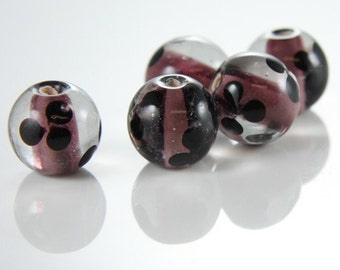 6pcs limited edition lampwored glass bead-Near Round 12x14mm (50Z-1)
