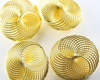 4pcs Raw Brass Wired Puff Coins-34mm (Large) (T-186)