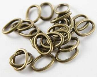 50pcs Antique Brass Tone Base Metal Rings-Oval 14x10mm (9833Y-P-3B)